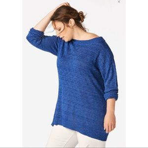 JUSTFAB Plus Size Cobalt Wide Boatneck Sweater